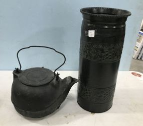 Vintage Iron Kettle and Metal Umbrella Stand