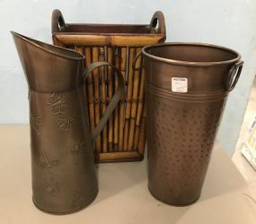 Brass Decorative Planters and Bamboo Style Basket