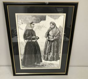 Framed Drawing Print with Ladies