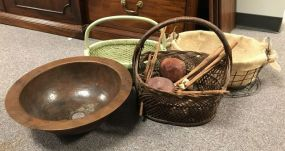 Group of Baskets and Metal Bucket