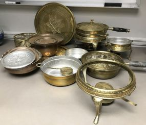 Collection of Copper and Brass Serving Pieces
