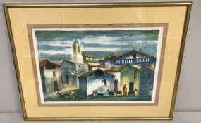 Village Watercolor Print Signed