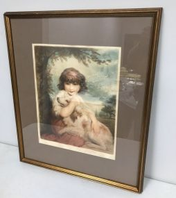 Girl and Dog Print Signed by Elizabeth Gullard