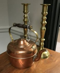 Copper Kettle and Brass Candle Holders