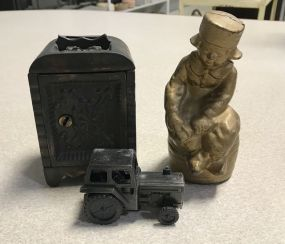 Two Vintage Iron Banks and Tractor Pencil Sharpener