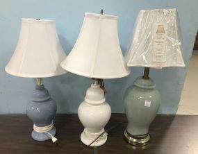Three Gray, White,  and Blue Glass Table Lamps