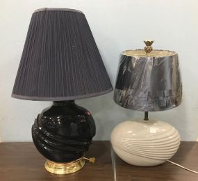 Two Glass Vase Style Table Lamps