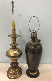 Colonial Style Brass Lamp and Painted Brass Urn Style Lamp
