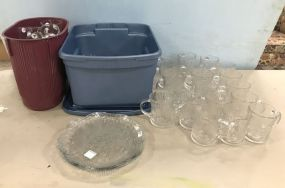 Large Group of Punch Cups and Clear Glass Mugs