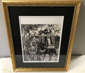 Framed Lithograph of Village Scene