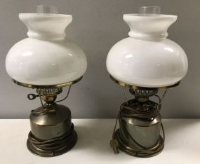 Vintage Brass Globe Table Lamps