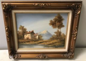 Oil Painting of Mountain Home Scene Signed