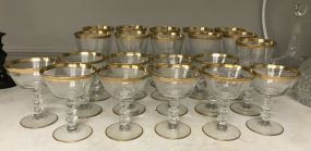 Gold Rim Clear Glass Stemware