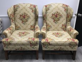 Pair of Upholstered Wing Back Chairs