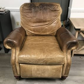 Worn Leather Arm Recliner