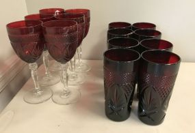 D Argques Durand Arcorco Ruby Red Crystal Stem Wine Glasses and Juice Glasses