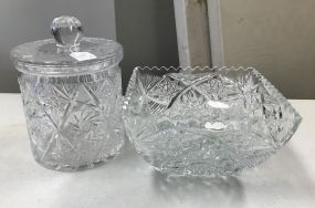 Pressed Glass Biscuit Jar and Cut Glass Bowl