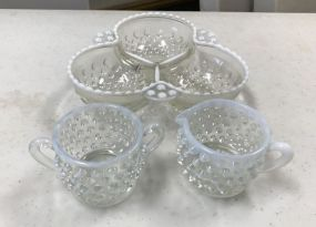 Opalescent Hobnail Dish and Cups