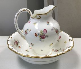 Cual Don England Hand Painted Porcelain Pitcher and Bowl