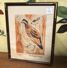 Quail Block Print by Mildred Wolfe