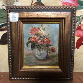Small Stiff Life Flower Bouquet Painting by LMT