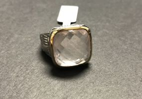 Brass Rose Quartz 12.50 CTW Ring