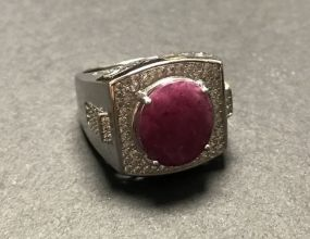 Men's .925 Ruby with Pave Ring