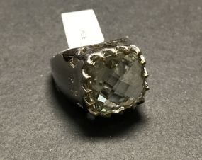 Men's Brass Green Amethyst Style 8.80 CTW Ring