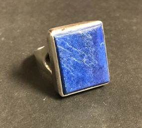 Large Sapphire Style Sterling Ring