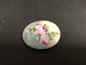 Hand Painted Porcelain Vintage Brooch