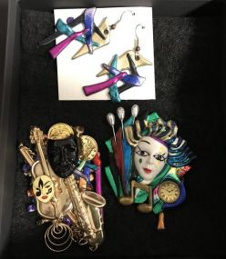 Mardi Gras Pins and Earrings