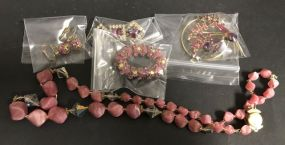 Assorted Group of Pins, Earring, and Necklace