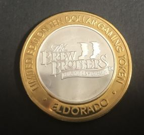 The Brew Brothers Limited Edition Ten Dollar Gaming Token .999 Silver