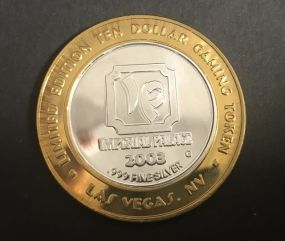 Imperial Palace Ten Dollar Gaming Token .999 Silver