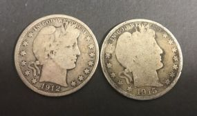 Two Early 1900's Barber Half Dollar Coins