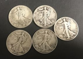 Five 1940's Walking Liberty Half Dollars