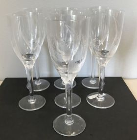 Set of 7 Lalique Angel Wing Crystal Champagne Wine Flute Glasses 8
