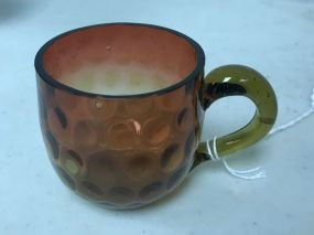 VTG 60's Art Glass Hand Blown Amberina Punch Cup Inverted Baby Thumbprint Pattern