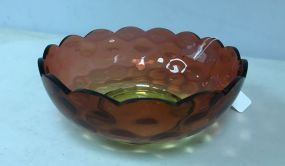 VTG 60's Art Glass Hand Blown Amberina Large Size Coin Pot Bowl