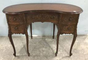 Louis XV Style Ornate Kidney Writing Desk and Chair