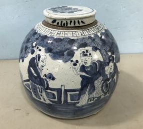 Blue and White Pottery Ginger Jar