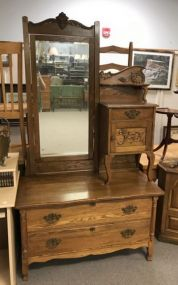 Antique Oak Wig/Hat Dresser
