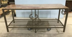 Decorative Metal and Marble Sofa/Wall Table