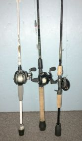 Two Field & Streams Reels and Bass Pro SCT