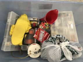 Crate of Accessories and Fishing Tackle