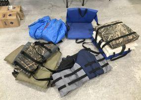 Group of Seat Pads, Life Jackets, Tarp, Seat