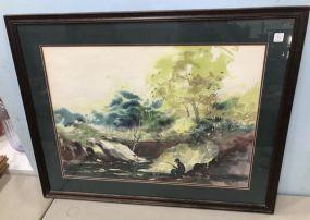 Gary Walters Watercolor Landscape Fishing Scene