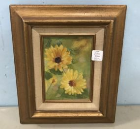 Peggy Bracken Painting of Sunflowers on Board