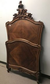 Antique French Style Carved High Back Twin Bed