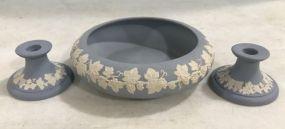Three Piece Vintage Ecanada Wedgwood Blue Art Pottery